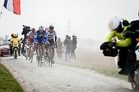 Philippe Gilbert (BEL/Deceuninck-Quick Step) , Peter Sagan (SVK/Bora Hansgrohe), Nils Politt (GER/Katusha Alpecin) riding in front. <br /> <br /> 117th Paris-Roubaix (1.UWT)<br /> 1 Day Race: Compiègne-Roubaix (257km)<br /> <br /> ©kramon