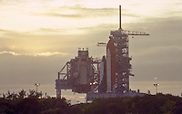 Space Shuttle Atlantis poised on launch Pad 39-A at Kennedy Space Center for its November 1991 launch on the STS-44 mission.  Crew:  Frederick D. Gregory, Commander; Terence T. Hendricks, Pilot; Mario Runco, Jr., Mission Specialist; James   S Voss, Mission Specialist; F. Story Musgrave, Mission Specialist; and Thomas J. Hennen, Payload Specialist.  (Photo by Brin Cleary/www.bcpix.com)