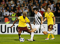 Fudbal, Champions league,Group H season 2010/2011.Partizan Vs. Arsenal.Stefan Savic, center, Alex Song, left and Samir Nasri, right.Beograd, 29.09.2010..foto: Srdjan Stevanovic/Starsportphoto ©