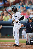 Connecticut Tigers second baseman Jeremiah Burks (28) at bat during a game against the Lowell Spinners on August 26, 2018 at Dodd Stadium in Norwich, Connecticut.  Connecticut defeated Lowell 11-3.  (Mike Janes/Four Seam Images)