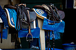 AUGUST 27, 2021: Tack hanging at ten Saddler barn at Del Mar Fairgrounds in Del Mar, California on August 27, 2021. Evers/Eclipse Sportswire/CSM