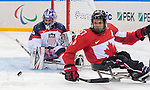 Sochi, RUSSIA - Mar 13 2014 - Brad Bowden as Canada takes on USA in Sledge Hockey Semi-Final at the 2014 Paralympic Winter Games in Sochi, Russia.  (Photo: Matthew Murnaghan/Canadian Paralympic Committee)