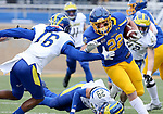 BROOKINGS, SD - MAY 8: Isaiah Davis #22 of the South Dakota State Jackrabbits looks for room against Nijuel Hill #16 of the Delaware Fightin Blue Hens on May 8, 2021 in Brookings, South Dakota. (Photo by Dave Eggen/Inertia)