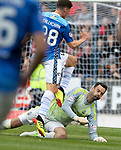 St Johnstone v Aberdeen…15.09.18…   McDiarmid Park     SPFL<br />Ross Callachan is taken down by Joe Lewis<br />Picture by Graeme Hart. <br />Copyright Perthshire Picture Agency<br />Tel: 01738 623350  Mobile: 07990 594431