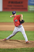 Williamsport Crosscutters pitcher Matt Hockenberry (31) delivers a pitch during a game against the Batavia Muckdogs on August 26, 2014 at Dwyer Stadium in Batavia, New York.  Williamsport defeated Batavia 8-1.  (Mike Janes/Four Seam Images)