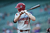 Heston Kjerstad (18) of the Arkansas Razorbacks at bat against the Oklahoma Sooners in game two of the 2020 Shriners Hospitals for Children College Classic at Minute Maid Park on February 28, 2020 in Houston, Texas. The Sooners defeated the Razorbacks 6-3. (Brian Westerholt/Four Seam Images)