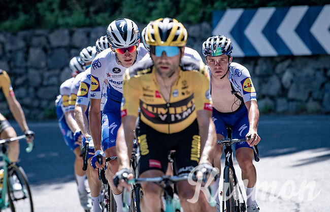 Remco Evenepoel (BEL/Deceuninck-Quickstep) well-encapsulated/protected by his teammates at the front of the peloton on the first climb of the day: the Colle Gallo<br /> <br /> 114th Il Lombardia 2020 (1.UWT)<br /> 1 day race from Bergamo to Como (ITA/231km) <br /> <br /> ©kramon