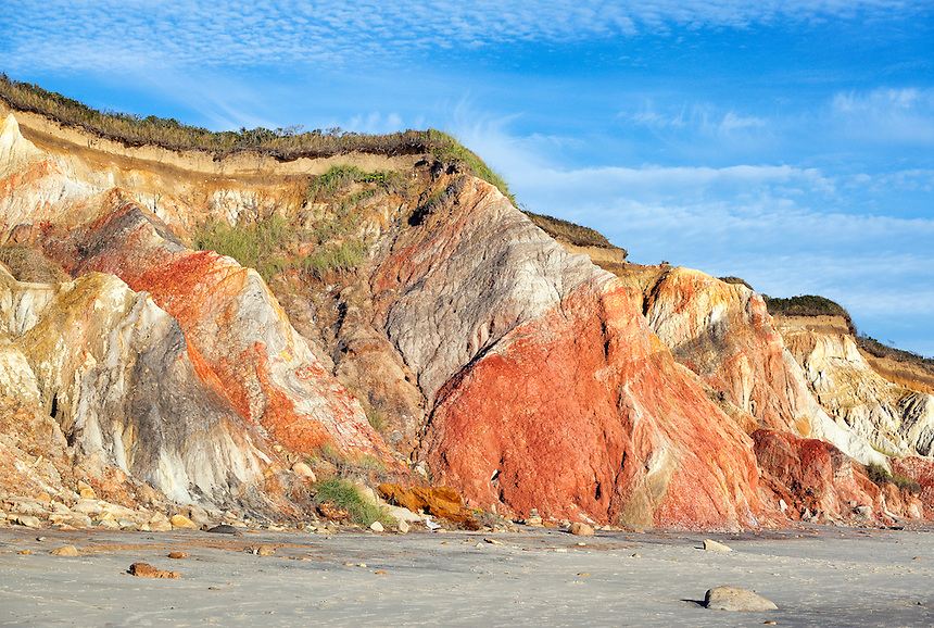 Clay cliffs and rock formations, Gay Head, Aquinnah, Martha's Vineyard, Massachusetts, USA.