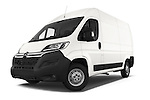 Stock pictures of low aggressive front three quarter view of a 2015 Citroen JUMPER L2H2 5 Door Cargo Van Low Aggressive