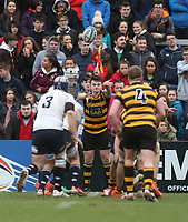 Friday 17th March 2017 | ULSTER SCHOOLS CUP FINAL<br /> <br /> Neil Saulters throws into the lineout during the Ulster Schools Cup Final between RBAI and MCB at Kingspan Stadium, Ravenhill Park, Belfast, Northern Ireland.<br /> <br /> Photograph by John Dickson | www.dicksondigital.com