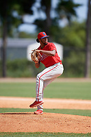 Philadelphia Phillies pitcher Engel Estevez (62) during an Instructional League game against the Detroit Tigers on September 19, 2019 at Tigertown in Lakeland, Florida.  (Mike Janes/Four Seam Images)