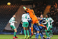 Matt Macey (Plymouth Argyle) clears the ball from a corner during the Sky Bet League 1 match between Rochdale and Plymouth Argyle at Spotland Stadium, Rochdale, England on 15 December 2018. Photo by James  Gill / PRiME Media Images.