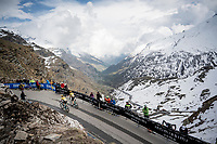 riders come up in little groups at the mountaintop finish of Stage 13: Pinerolo to Ceresole Reale/Lago Serrù (196km)<br /> 102nd Giro d'Italia 2019<br /> <br /> ©kramon