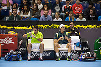 VALENCIA, SPAIN - OCTOBER 28: David Marrero and Guillermo Garcia Lopez during Valencia Open Tennis 2015 on October 28, 2015 in Valencia , Spain