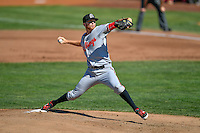 Billings Mustangs starting pitcher Andrew Jordan (23) delivers a pitch to the plate against the Ogden Raptors in Pioneer League action at Lindquist Field on August 14, 2016 in Ogden, Utah. Ogden defeated Billings 15-9. (Stephen Smith/Four Seam Images)
