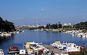 Belgrade, Serbia, Yugoslavia. View of the marina on the Sava River with leisure boats.