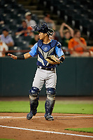 Trenton Thunder catcher Chace Numata (6) during the second game of a doubleheader against the Bowie Baysox on June 13, 2018 at Prince George's Stadium in Bowie, Maryland.  Bowie defeated Trenton 10-1.  (Mike Janes/Four Seam Images)