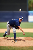 Pitcher Todd Peterson (23) of Lake Mary High School in Lake Mary, Florida playing for the Tampa Bay Rays scout team during the East Coast Pro Showcase on July 30, 2015 at George M. Steinbrenner Field in Tampa, Florida.  (Mike Janes/Four Seam Images)
