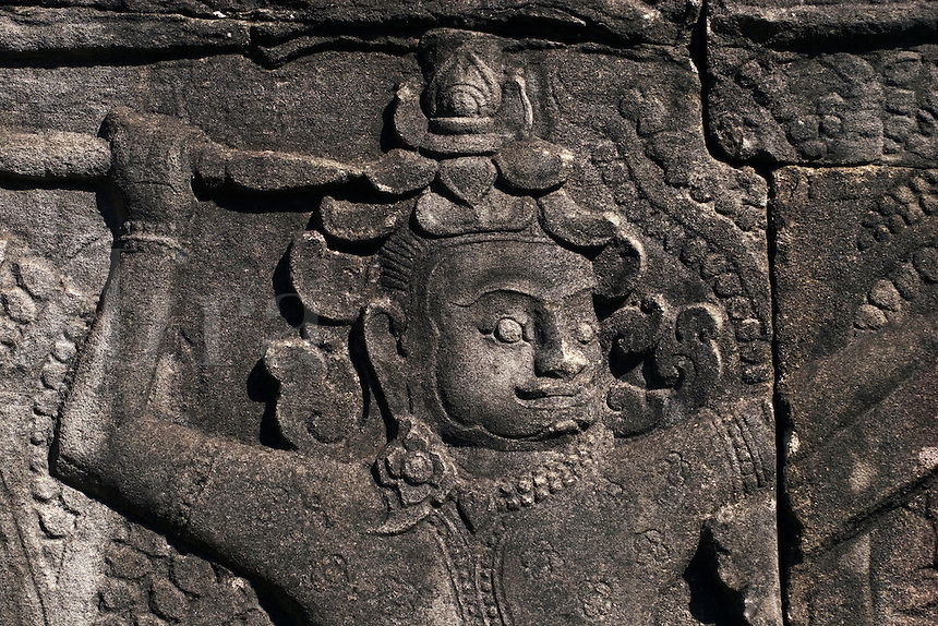 Sandstone bas relief of a historical battle at The Bayon, built by Jayavarman VII, in Angkor Thom  - Angkor Wat, Siem Reap, Cambodia...