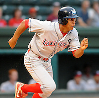 Sept. 17, 2009: Anthony Gose (24) of the Lakewood BlueClaws runs out a hit in Game 3 of the South Atlantic League Championship Series between the Greenville Drive and the BlueClaws at Fluor Field at the West End in Greenville, S.C. Photo by: Tom Priddy/Four Seam Images