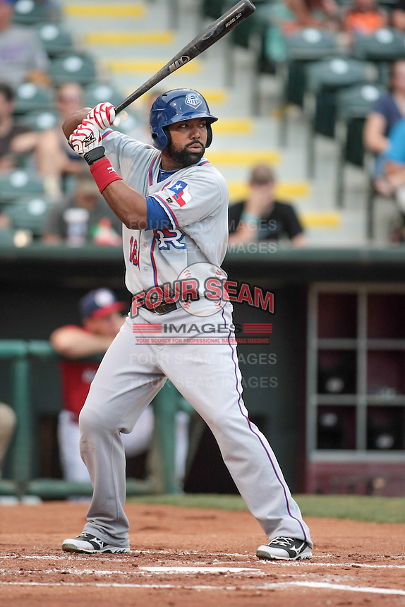 Joey Butler (16) of the Round Rock Express at bat during the Pacific Coast League game against the Oklahoma City RedHawks at Chickashaw Bricktown Ballpark on June 14, 2013 in Oklahoma City ,Oklahoma.  (William Purnell/Four Seam Images)