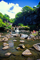 The Seven Sacred Pools are a favorite spot for tourists to relax near waterfalls and swim in cool mountain streams. Located on southeast Maui, a short drive past the town of Hana.