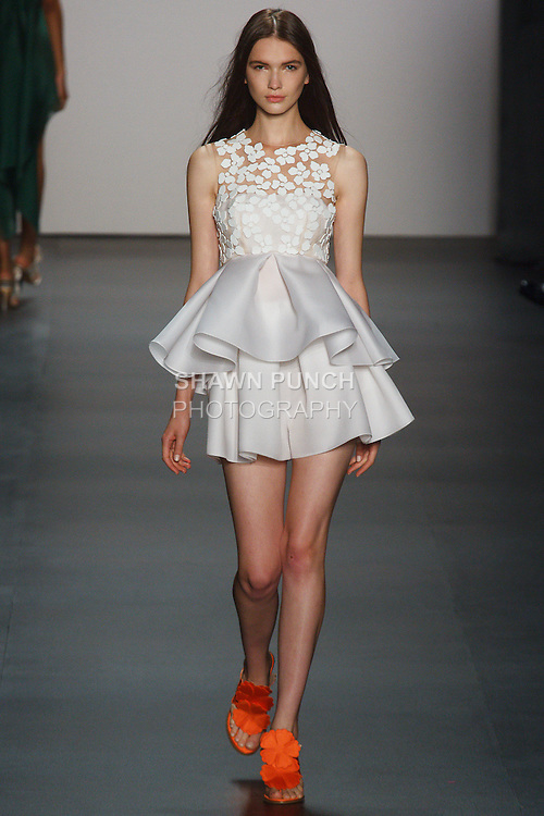 Model walks runway in an outfit from the Angel Sanchez Spring Summer 2016 collection at The Shows, during New York Fashion Week Spring 2016.