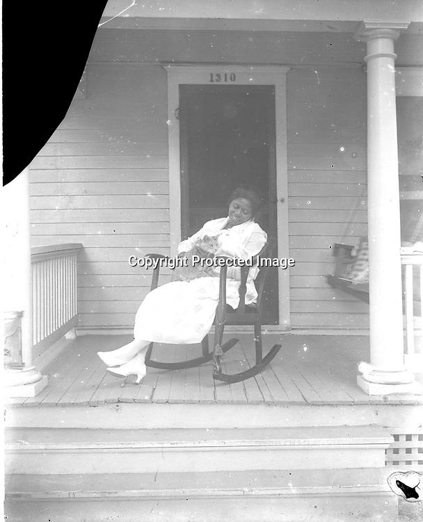 Odessa Johnson on the porch of the Johnson home ca 1918