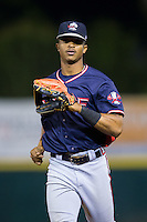 Rome Braves center fielder Ray-Patrick Didder (11) jogs off the field between innings of the game against the Hickory Crawdads at L.P. Frans Stadium on May 12, 2016 in Hickory, North Carolina.  The Braves defeated the Crawdads 3-0.  (Brian Westerholt/Four Seam Images)