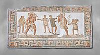 3rd century AD Roman mosaic panel of a drinking scene from Dougga, Tunisia.  The Bardo Museum, Tunis, Tunisia. Grey background