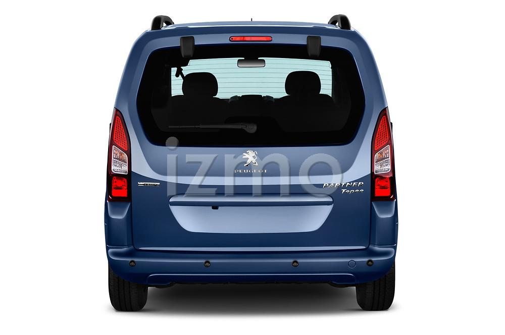 Straight rear view of a 2018 Peugeot Partner Tepee Electric Allure 5 Door Mini Van stock images