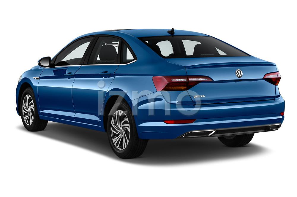 Car pictures of rear three quarter view of a 2019 Volkswagen Jetta SEL Premium 4 Door Sedan angular rear