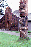 Ksan Historical Village and Museum in Hazelton, Northern BC, British Columbia, Canada - Replicated Gitxsan (Gitksan aka Tsimshian) First Nations Native Indian Village, Totem Pole and Tribal Plank House