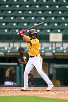 FCL Pirates Gold Randy Romero (23) bats during a game against the FCL Rays on July 26, 2021 at LECOM Park in Bradenton, Florida. (Mike Janes/Four Seam Images)