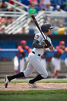 West Virginia Black Bears right fielder Bligh Madris (7) at bat during a game against the Batavia Muckdogs on June 25, 2017 at Dwyer Stadium in Batavia, New York.  West Virginia defeated Batavia 6-4 in the completion of the game started on June 24th.  (Mike Janes/Four Seam Images)