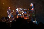 © Joel Goodman - 07973 332324 . 28/10/2017 . Manchester , UK . Robert Trujillo , Lars Ulrich and James Hetfield . Metallica perform at the Manchester Arena . Photo credit : Joel Goodman