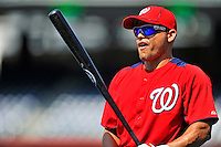 21 June 2011: Washington Nationals catcher Ivan Rodriguez warms up prior to a game against the Seattle Mariners at Nationals Park in Washington, District of Columbia. Pudge was honored during pre-game events for his anniversary of 20 years in the Majors. The Nationals rallied from a 5-1 deficit, scoring 5 runs in the bottom of the 9th, to defeat the Mariners 6-5 in inter-league play. Mandatory Credit: Ed Wolfstein Photo