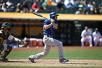 OAKLAND, CA - AUGUST 16:  Eric Hosmer #8 of the Kansas City Royals bats against the Oakland Athletics during the game at the Oakland Coliseum on Wednesday, August 16, 2017 in Oakland, California. (Photo by Brad Mangin)