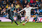 Mateo Kovacic (r) of Real Madrid battles for the ball with Inigo Martinez Berridi of Real Sociedad during their La Liga match between Real Madrid and Real Sociedad at the Santiago Bernabeu Stadium on 29 January 2017 in Madrid, Spain. Photo by Diego Gonzalez Souto / Power Sport Images