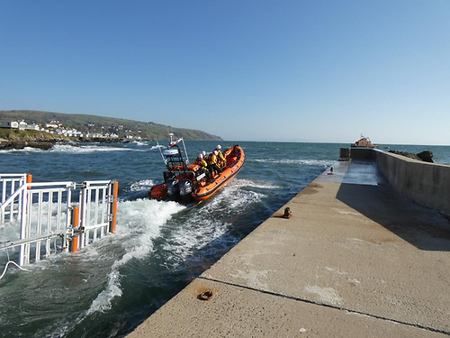 The Red Bay lifeboat launching on the callout this morning from Cushendall