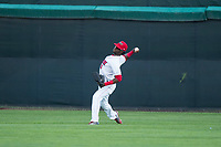 Orem Owlz center fielder D'Shawn Knowles (4) throws to the infield during a Pioneer League game against the Ogden Raptors at Home of the OWLZ on August 24, 2018 in Orem, Utah. The Ogden Raptors defeated the Orem Owlz by a score of 13-5. (Zachary Lucy/Four Seam Images)