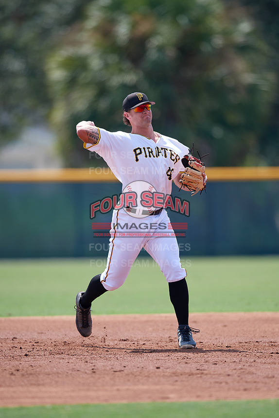 Pittsburgh Pirates Jerrick Suiter (48) throws to first base during an Instructional League game against the New York Yankees on September 28, 2017 at Pirate City in Bradenton, Florida.  (Mike Janes/Four Seam Images)