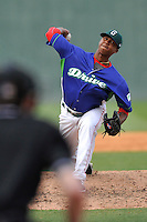 Pitcher Anyelo Leclerc (36) of the Greenville Drive delivers a pitch in a game against the Asheville Tourists on Sunday, April 10, 2016, at Fluor Field at the West End in Greenville, South Carolina. Greenville won 7-4. (Tom Priddy/Four Seam Images)
