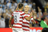 U.S players Clint Dempsey and Michael Bradley celebrate the team's third goal..USMNT defeated Guatemala 3-1 in World Cup qualifying play at LIVESTRONG Sporting Park, Kansas City, KS.