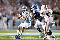 CHAPEL HILL, NC - SEPTEMBER 07: Sam Howell #7 of the University of North Carolina drops back to pass during a game between University of Miami and University of North Carolina at Kenan Memorial Stadium on September 07, 2019 in Chapel Hill, North Carolina.