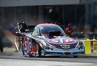 Sept. 21, 2012; Ennis, TX, USA: NHRA funny car driver Tony Pedregon during qualifying for the Fall Nationals at the Texas Motorplex. Mandatory Credit: Mark J. Rebilas-US PRESSWIRE