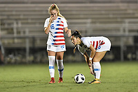 Lakewood Ranch, FL - Wednesday, October 10, 2018:   Astrid Wheeler, Sunshine Fontes during a U-17 USWNT match against Colombia.  The U-17 USWNT defeated Colombia 4-1.