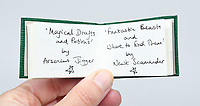 """BNPS.co.uk (01202) 558833<br /> Pic: PeterHarrington/BNPS<br /> <br /> """"Magical Drafts and Potions"""" and """"Fantastic Beats and Where to Find Them""""<br /> <br /> A unique miniature Harry Potter book created by JK Rowling has emerged for sale for £125,000.<br /> <br /> The author hand-wrote and illustrated the 31 page green leather bound manuscript measuring just 1.5ins by 2.5ins for a charity auction in 2004.<br /> <br /> It contains the passage on pages 52-53 of Harry Potter and The Philosopher's Stone where Harry and Hagrid go to London to buy school supplies for Hogwarts.<br /> <br /> Rowling has done original drawings of equipment including quills, scales, a cauldron and a wizard's hat."""