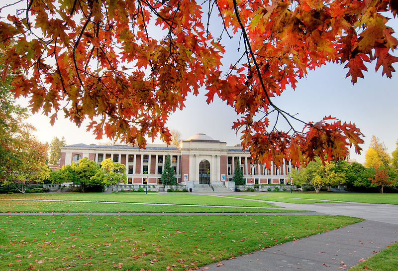 Memorial Union building with fall color. Oregon State University.