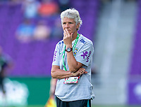 ORLANDO, FL - FEBRUARY 18: Pia Sundhage of Brazil watches her team during a game between Argentina and Brazil at Exploria Stadium on February 18, 2021 in Orlando, Florida.